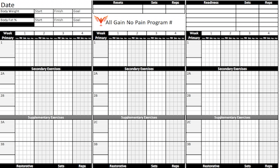 Free All Gain No Pain Excel Workout Template Bill Hartman